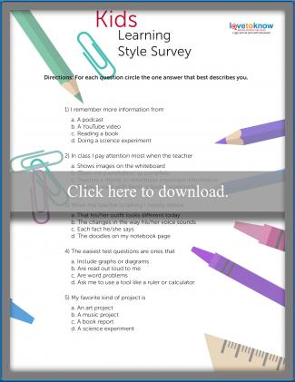 image about Interest Inventory for Middle School Students Printable named Discovering Style and design Assessments for Youngsters LoveToKnow
