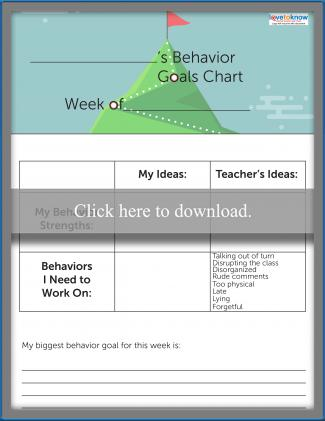 Classroom Behavior Goals Chart for School