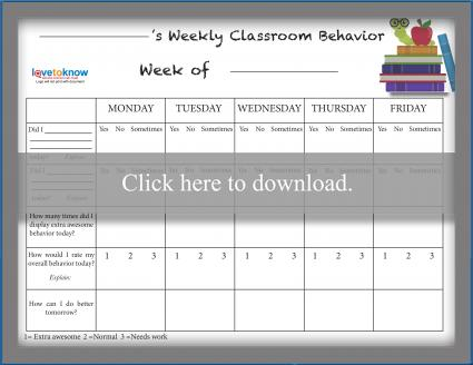 Weekly Classroom School Behavior Chart Free Printable