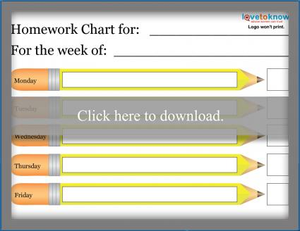 Printable Homework Charts | LoveToKnow