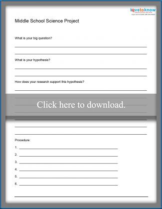 Middle School Science Project Worksheet