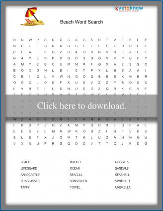 Beach Word Search