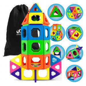 Discovery Kids 50 Piece Magnetic Building Tiles Set