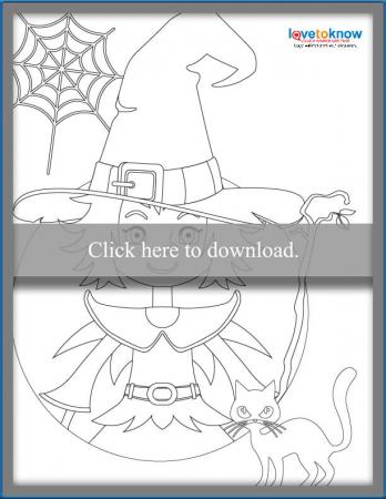 cute witch and cat coloring page