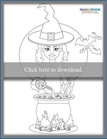 smiling witch with her cauldron to color