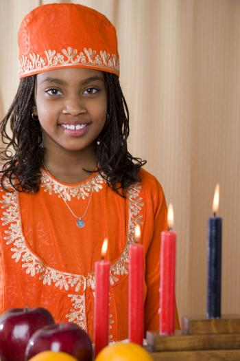 Girl dressed for Kwanzaa