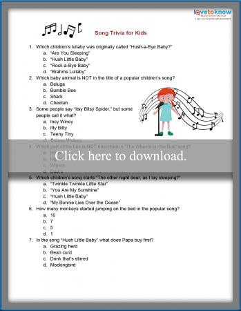 picture about Animal Trivia Questions and Answers Printable identify Tunes Trivia for Little ones LoveToKnow