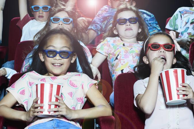 Kids watching a 3D movie