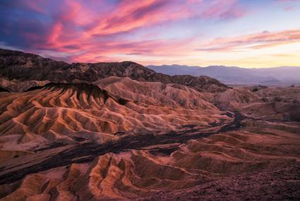 Zabriskie Point at sunset, Death Valley
