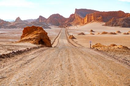 Road in Atacama desert - Moon valley mountain