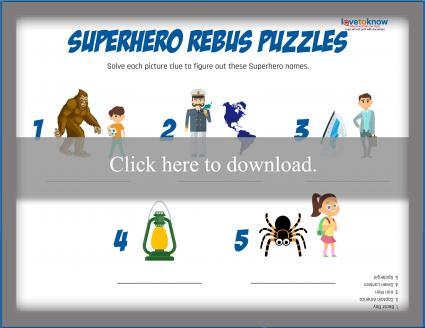 Superhero Names Rebus Puzzle
