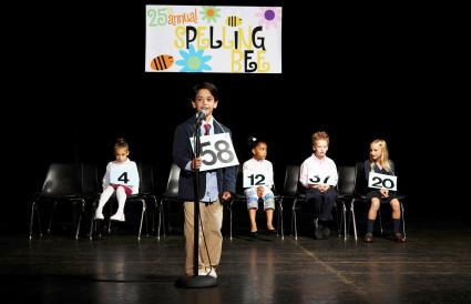 Children on stage at spelling bee