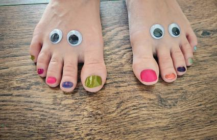 Googly eyes and painted toes