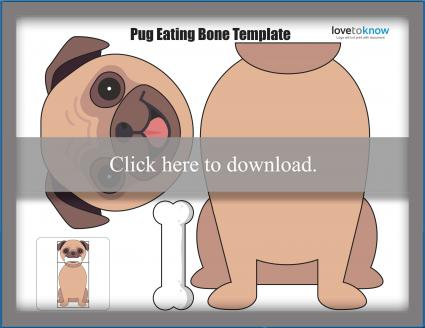 Pug eating bone puppet template