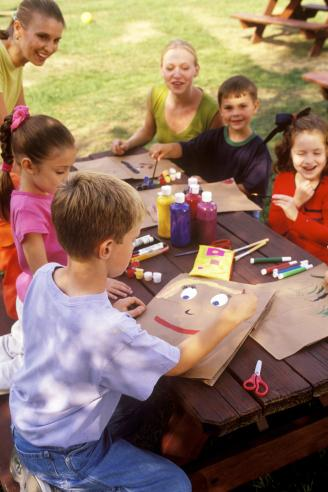 Daycare Students Having Arts and Crafts in a Park