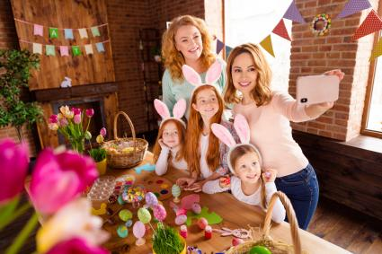 Virtual Easter celebration with mom, daughters and grandma