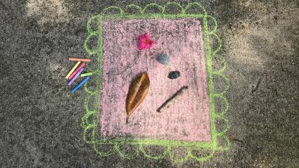 Found Art Frame Sidewalk Chalk Art