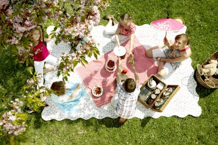 Children having picnic in countryside