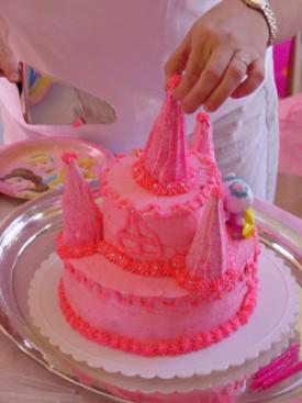 Pink homemade princess castle cake