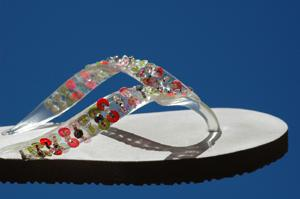 Sparkly flip flops for kid's party favors