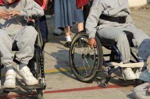 Kids in wheel chairs participating at summer camp