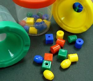 Buckets of beads for preschool education