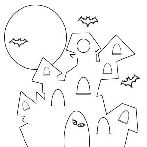 Haunted House Coloring Page Haunted House Coloring Pages for Kids ... | 300x300