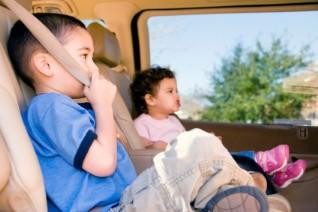 Toddlers on a road trip in a van