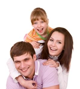 child and parents laughing