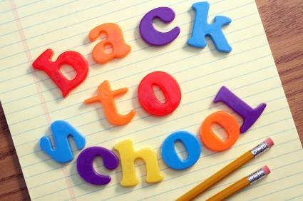 Magnetic letters spell back to school