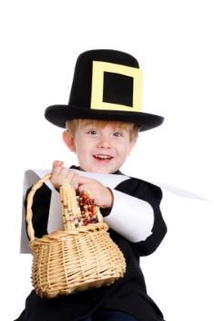 Little boy dressed as a pilgrim