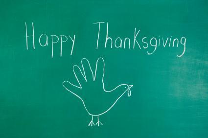 happy thanksgiving written on chalkboard