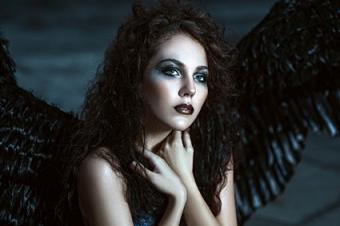 Dark angel with black wings