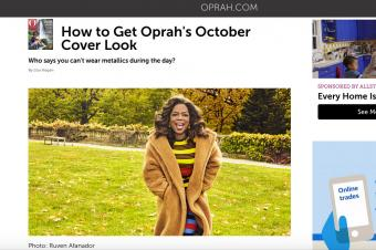 Screenshot of article on Oprah's October Cover Makeup at Oprah.com