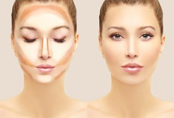 woman face with contour makeup