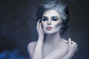 Woman wearing corpse makeup