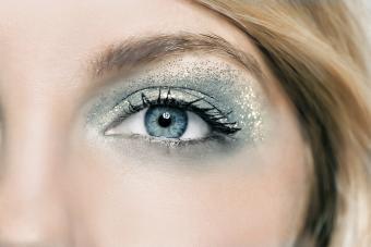 Close up of glitter open eye