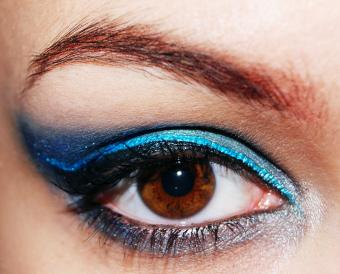 Close Up Of Brown Eye With Make-Up