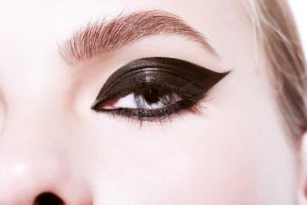 Beauty shot of eye with killer bumblebee make-up