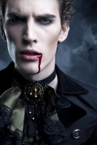 Vampire with blood on lips