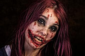 Young woman in zombie makeup