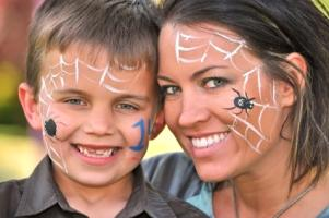 mom and son with face paint