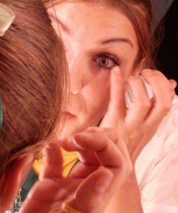 Girl beginning Greek Goddess makeup