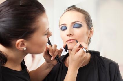 pro makeup artist at work