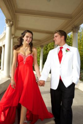 Girl in red prom dress