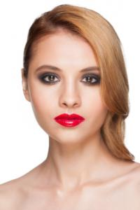 Medium complexion with red lips