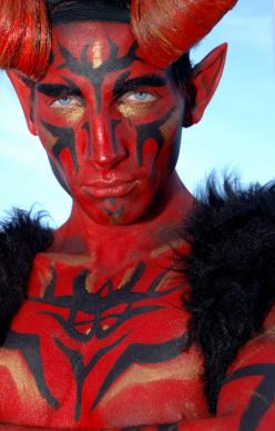 man in devil makeup
