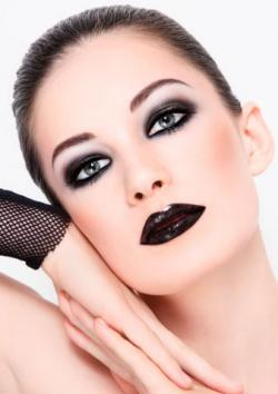 woman with black lipstick