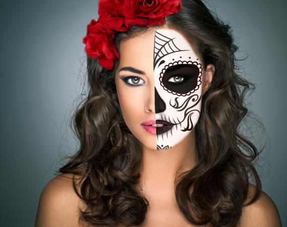 Half face sugar skull