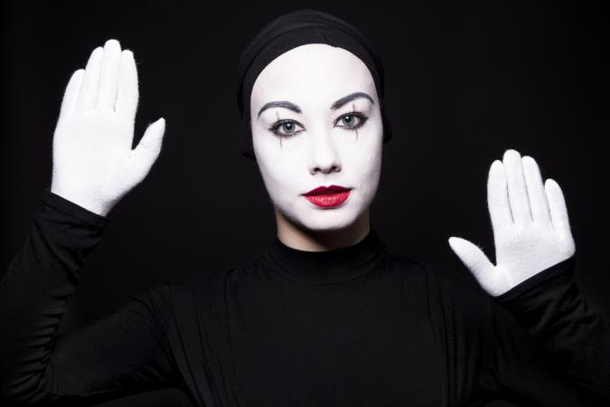 Portrait of a woman mime